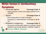 mugs version 5 genitourinary symptoms