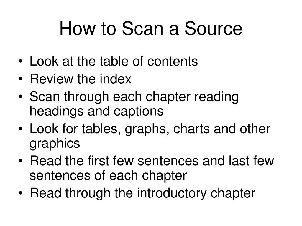 How to Scan a Source