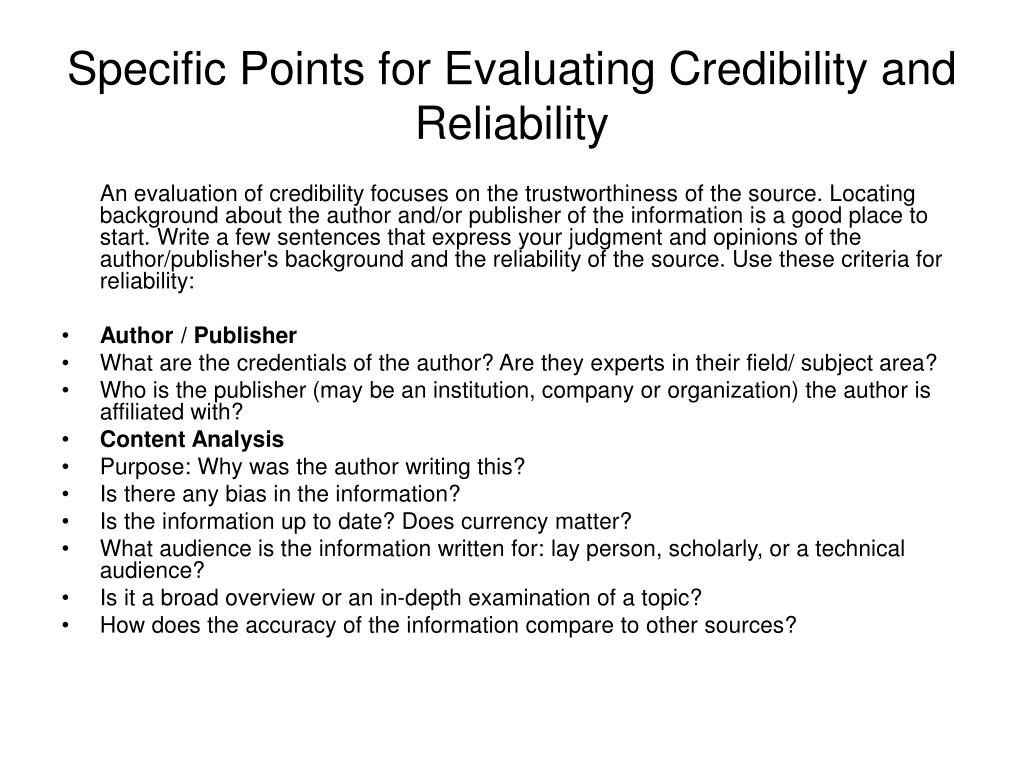 Specific Points for Evaluating Credibility and Reliability