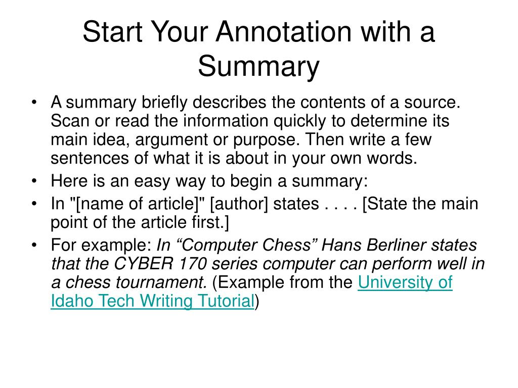 Start Your Annotation with a Summary