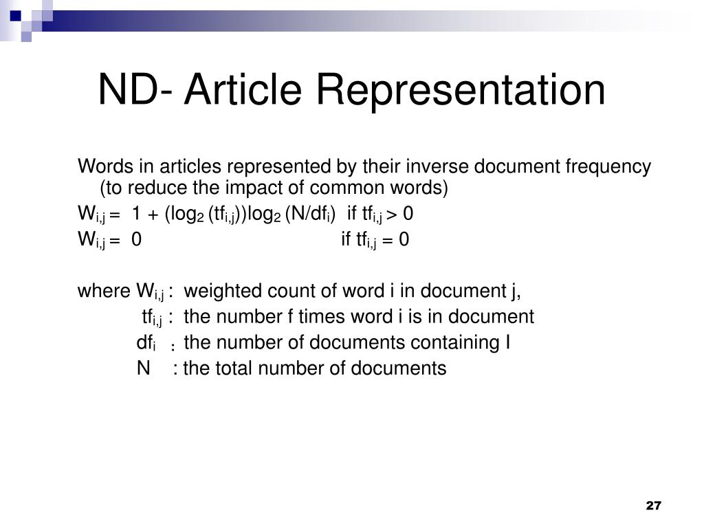 ND- Article Representation