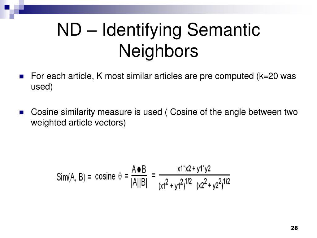 ND – Identifying Semantic Neighbors