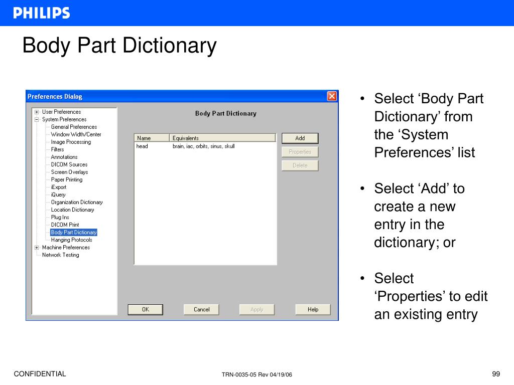 Select 'Body Part Dictionary' from the 'System Preferences' list