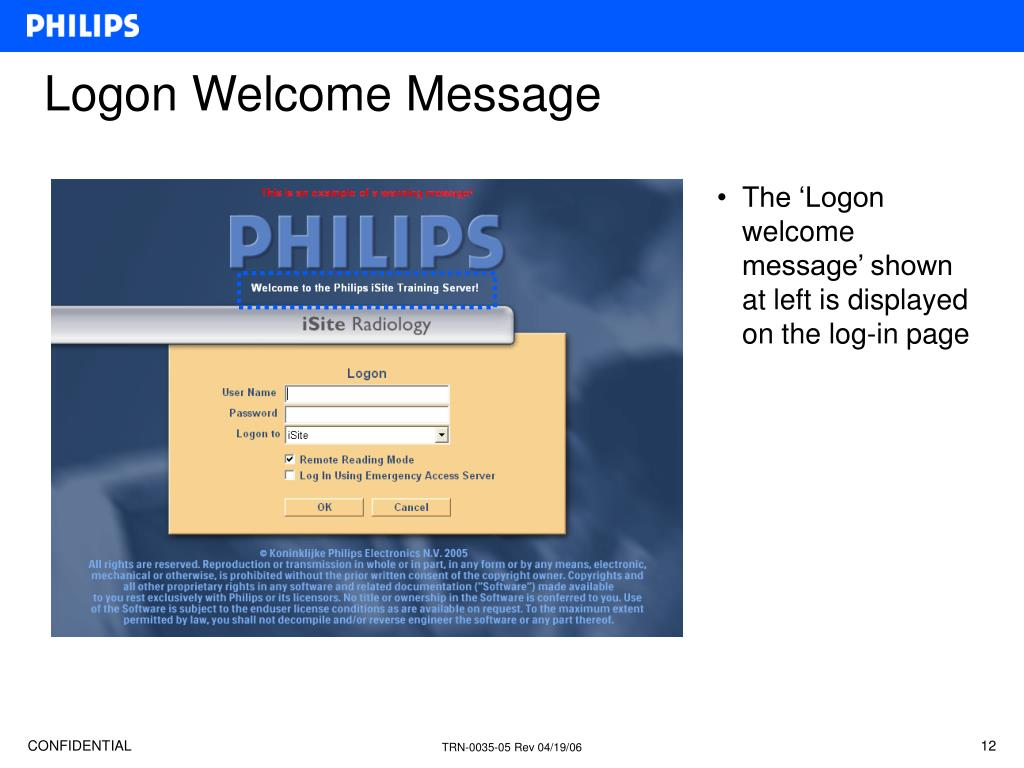 Logon Welcome Message