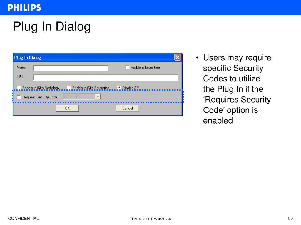 Plug In Dialog