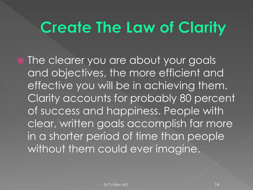Create The Law of Clarity