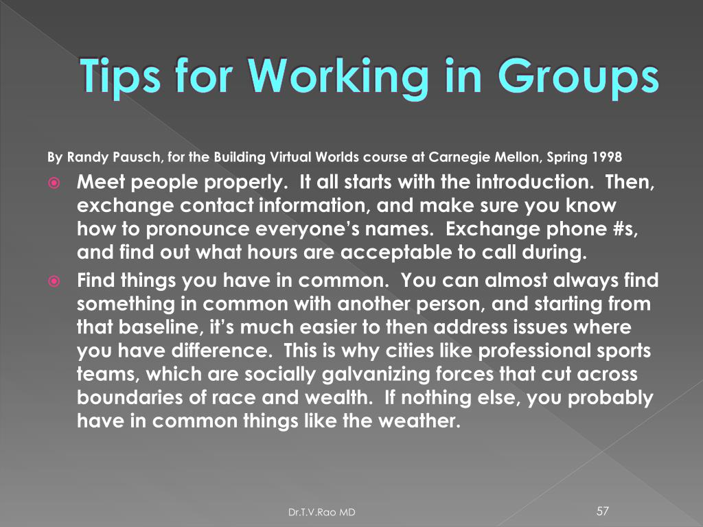 Tips for Working in Groups