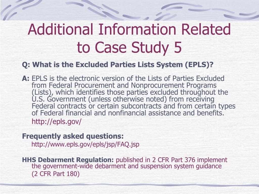 Additional Information Related to Case Study 5