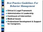 best practice guidelines for behavior management