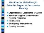 best practice guidelines for behavior support intervention training