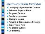 supervisors training curriculum