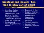 employment issues ten tips to stay out of court