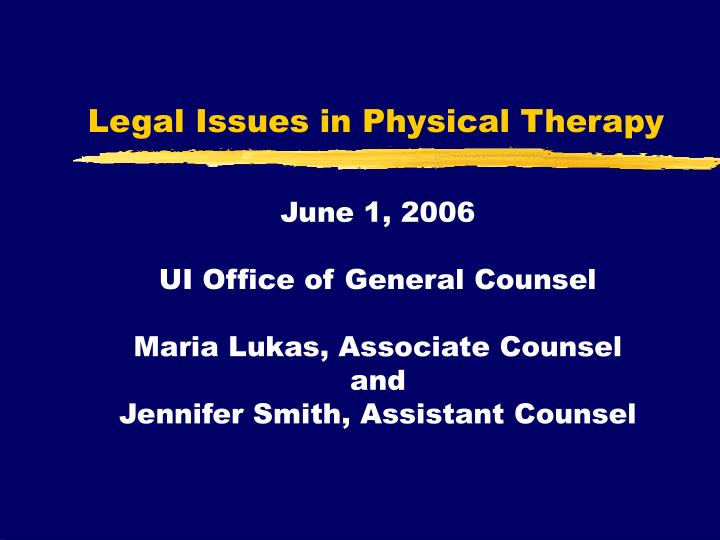 legal issues in physical therapy n.