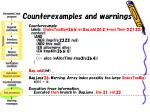 counterexamples and warnings