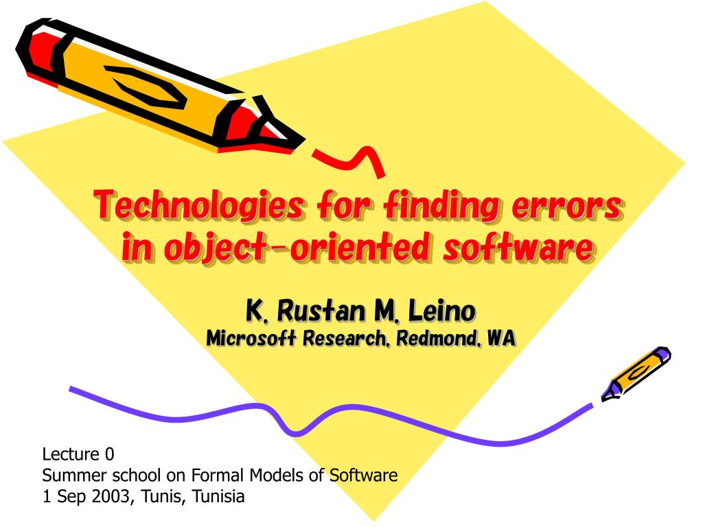 technologies for finding errors in object oriented software l.