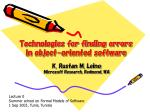 technologies for finding errors in object oriented software