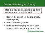 example short selling and covering