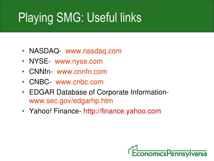 Playing SMG: Useful links