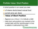 portfolio value short position