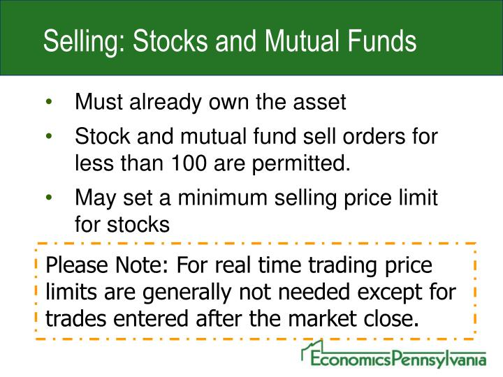 Selling: Stocks and Mutual Funds