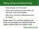 selling stocks and mutual funds