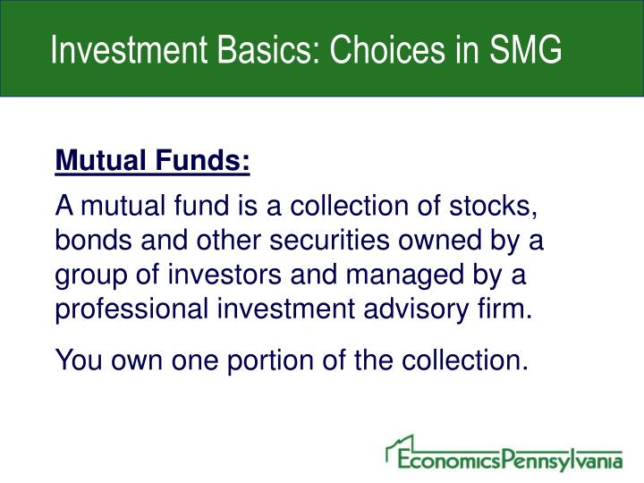 Investment Basics: Choices in SMG