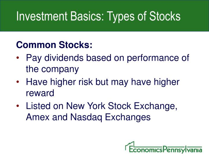Investment Basics: Types of Stocks