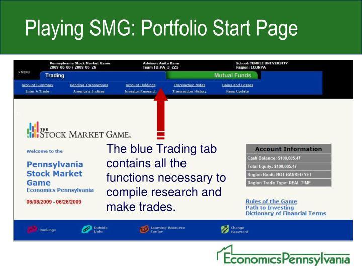 Playing SMG: Portfolio Start Page