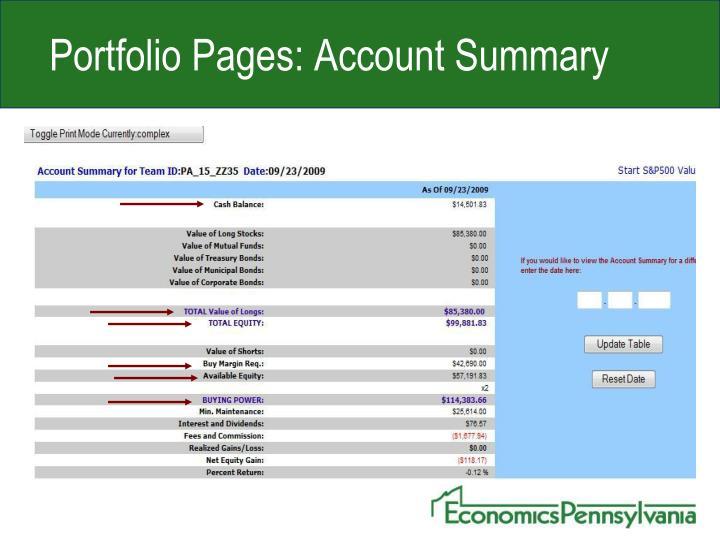 Portfolio Pages: Account Summary