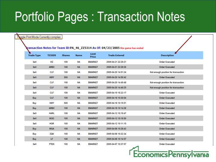 Portfolio Pages : Transaction Notes