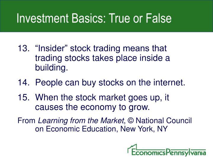 Investment Basics: True or False