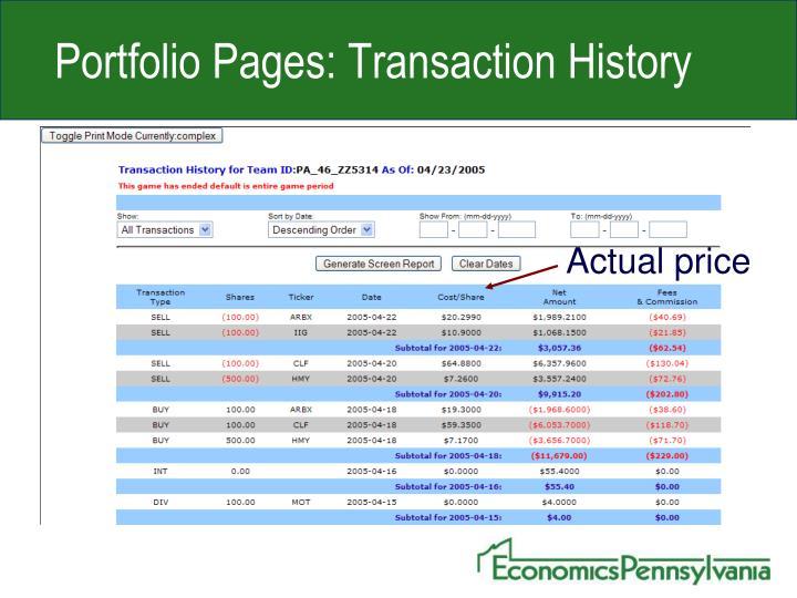 Portfolio Pages: Transaction History