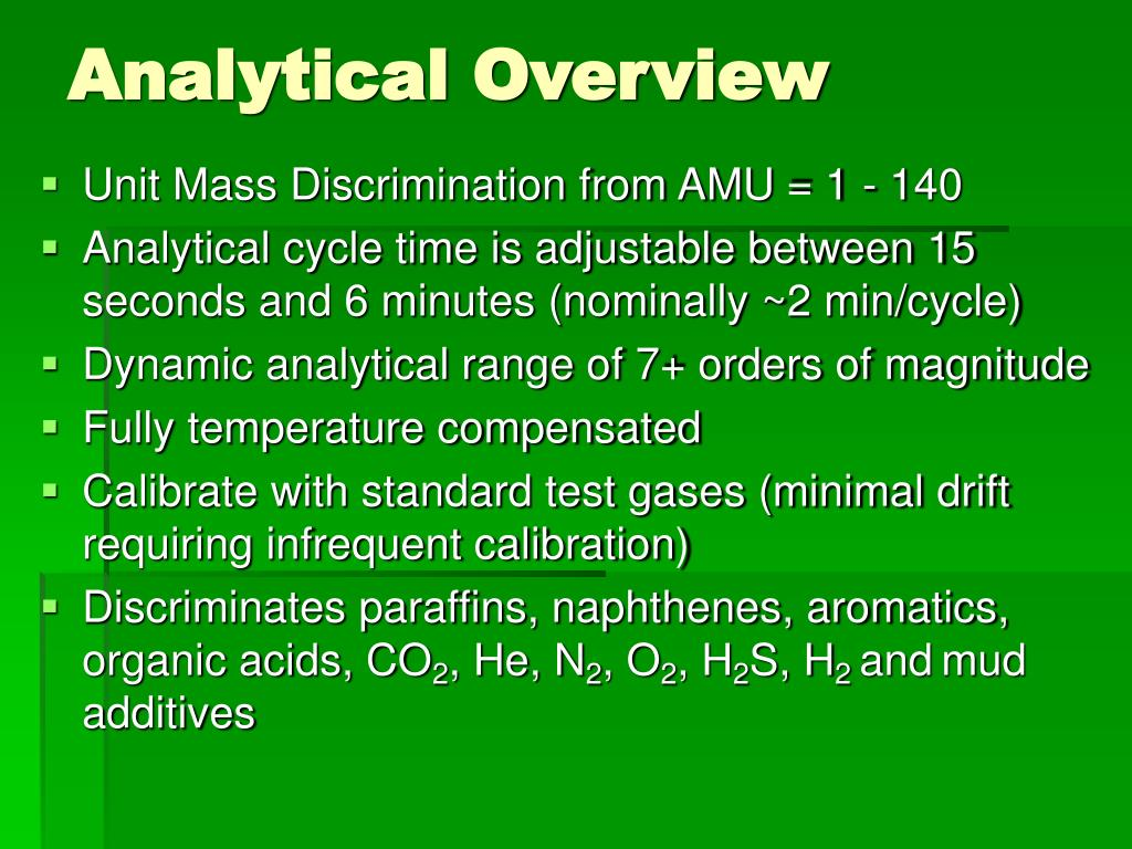 Analytical Overview
