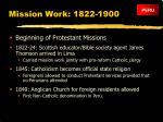 mission work 1822 1900