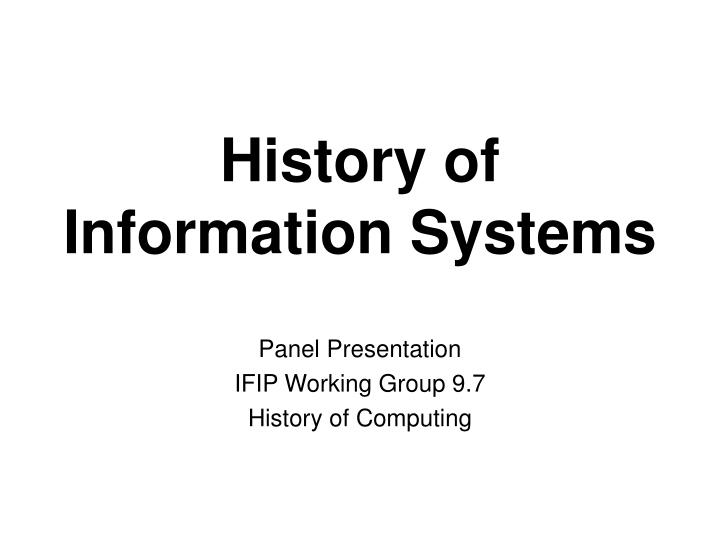 History of information systems