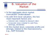 b valuation of the market
