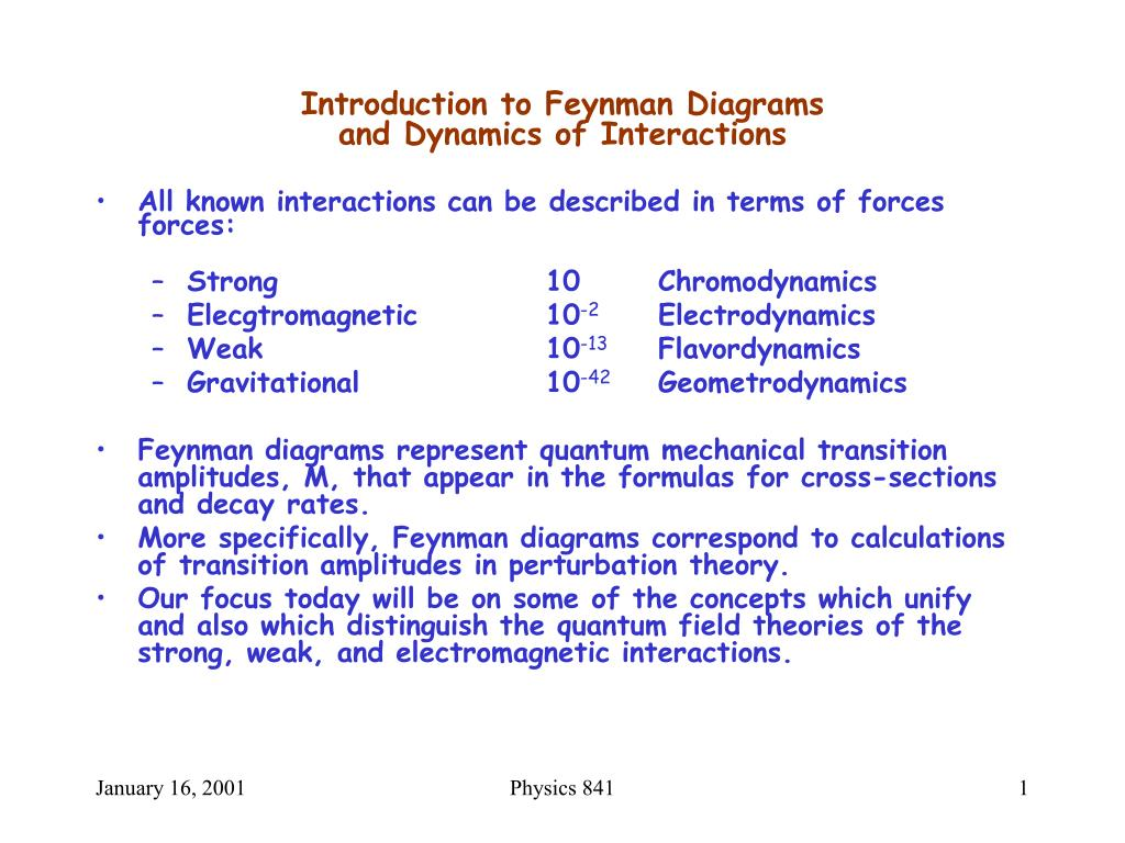 introduction to feynman diagrams and dynamics of interactions l.