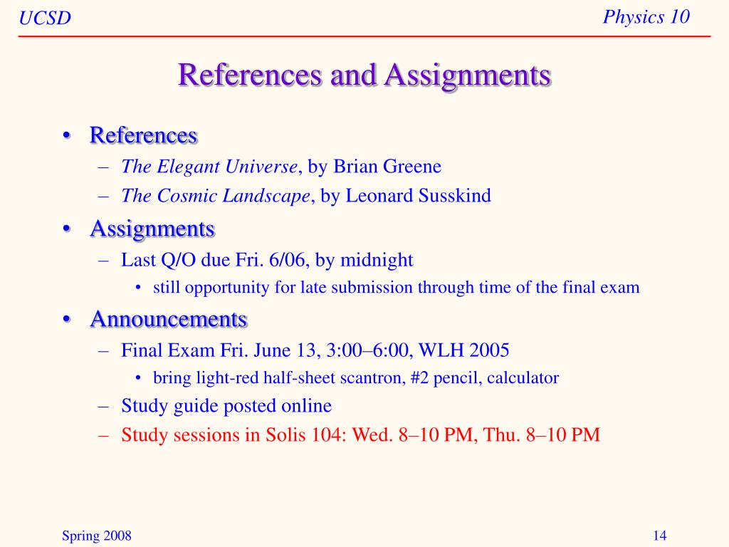 References and Assignments