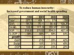 to reduce human insecurity i ncreased government and social health spending