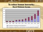 to reduce human insecurity rural minimum income