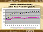 to reduce human insecurity urban basic pension program42