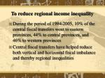 to reduce regional income inequality24