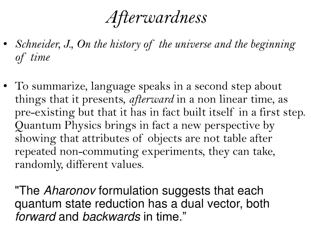 Afterwardness