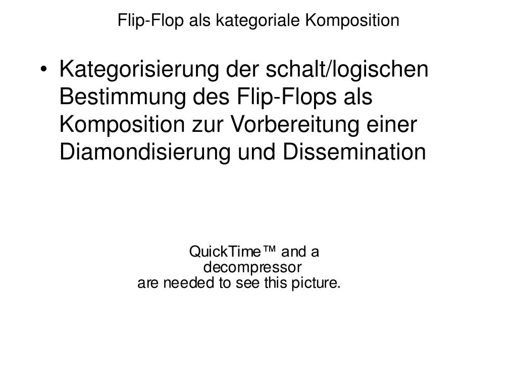 Kategorisierung der schalt/logischen Bestimmung des Flip-Flops als Komposition zur Vorbereitung einer Diamondisierung und Dissemination