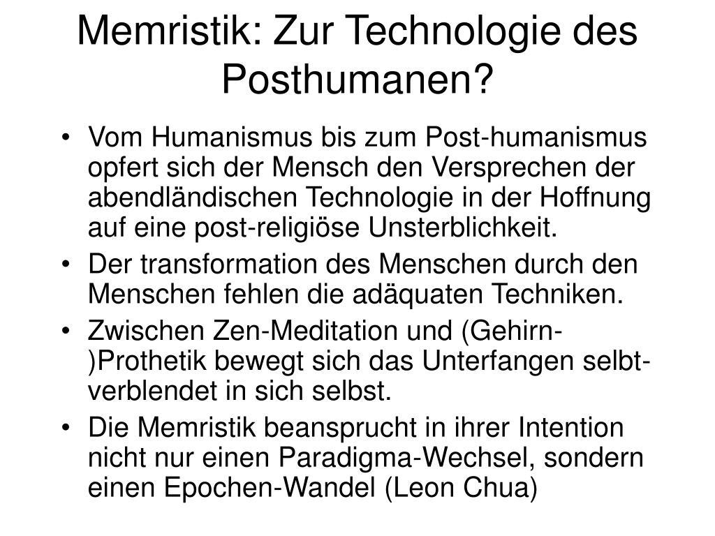 Memristik: Zur Technologie des Posthumanen?