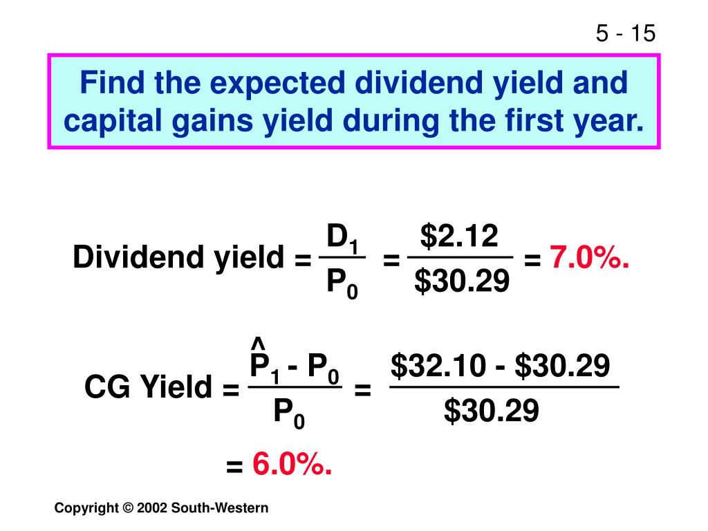 Find the expected dividend yield and capital gains yield during the first year.