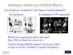 antimatter and the rest of particle physics
