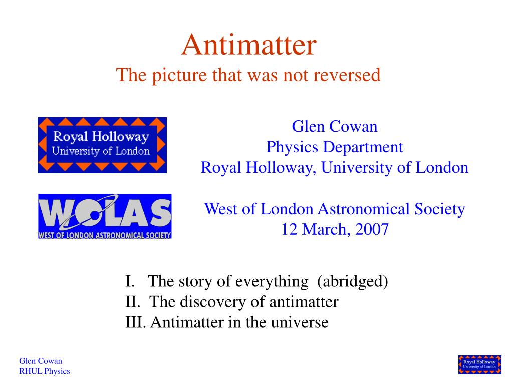 antimatter the picture that was not reversed