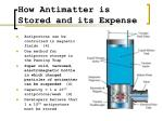 how antimatter is stored and its expense