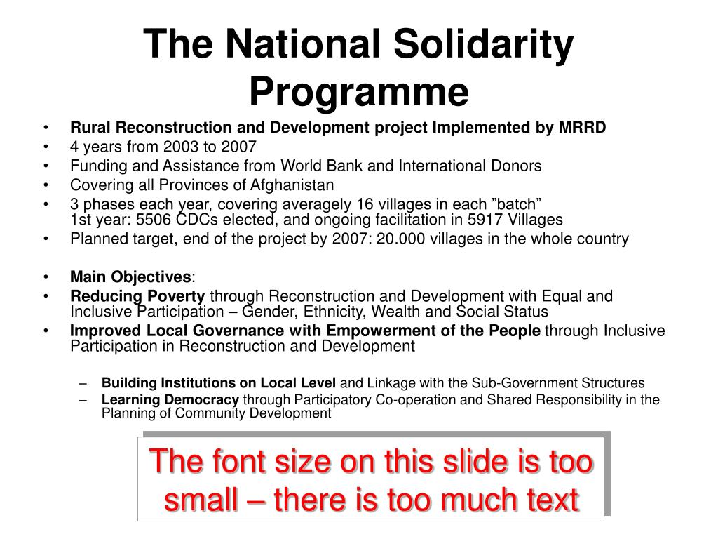 The National Solidarity Programme